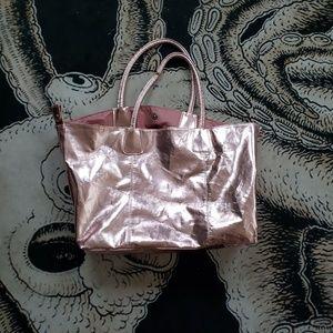 Handbags - Pink metallic shimmer tote bag purse